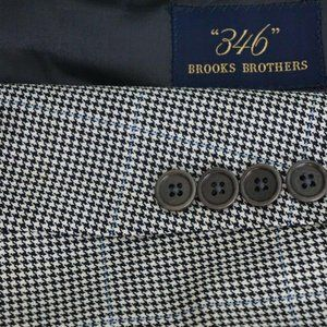 Brooks Brothers White Black Houndstooth Blue Plaid
